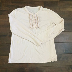 J. Jill Ruffle Front Henly Size Large Pale Pink